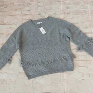 BB Dakota Fringe Sweater L Heather Gray Boho NWT